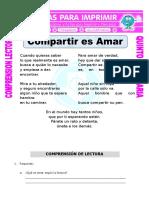 Ficha Compartir Es Amar Para Quinto de Primaria