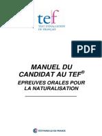 Manuel Du Candidat Au TEF Épreuves Orales Pas de Prépa