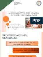 Medicamentos Mas Usados en Neonatologia
