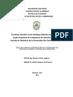 El método científico como estrategia didáctica en el aprendizaje de grupo sanguíneo de la asignatura de Laboratorio Clínico, en la Escuela de Obstetricia de la Universidad San Pedro, Chimbote 2015-II