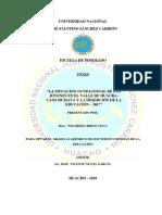 """""""LA SITUACIÓN OCUPACIONAL DE LOS JÓVENES EN EL VALLE DE HUAURACASO HUMAYA Y LA DESERCIÓN DE LA EDUCACIÓN – 2017"""