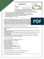 Lista de Sociologia Profº Yuri 1º Ano p1 III Bim