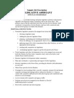 Legislative Assistant Job Description
