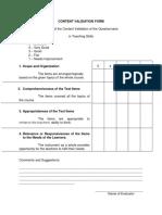 Content Validation Form