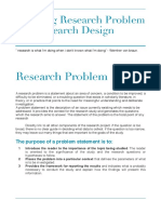 Defining Research Problem and Research Design