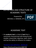 Definition and Structure of Academic Texts