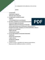Ensayo Sobre La Higiene y Manipulación de Los Alimentos en Los Servicios Gastronómicos