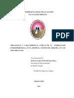 PREVALENCIA Y CARACTERÌSTICAS CLÌNICAS DE LA TUBERCULOSIS ENTEROPERITONEAL EN EL HOSPITAL GOYENECHE AREQUIPA, EN LOS AÑOS 2008 AL 2012.
