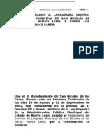 REGLAMENTO DEL SERVICIO DE LIMPIEZA MUNICIPAL DE SAN NICOLÁS DE LOS GARZA, N.L.