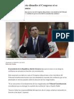 """Cierre Del Congreso _ Vizcarra_ """"Si Declararía Disuelto El Congreso en Caso Se Deniegue La Confianza"""" _ Política _ Gestión"""