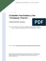 Teresa Montiel Alvarez (2014). Ciudades Hacinadas y Las Company Towns