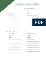 Ejercicios para pruebas formales de validez