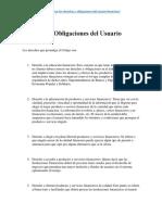 Derechos y Obligaciones Del Usuario Financiero Ecuatoriano