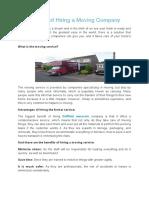 Advantages of Hiring a Moving Company