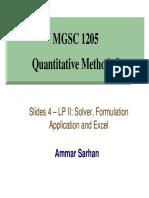 Class 4_LP Solver&Formulation