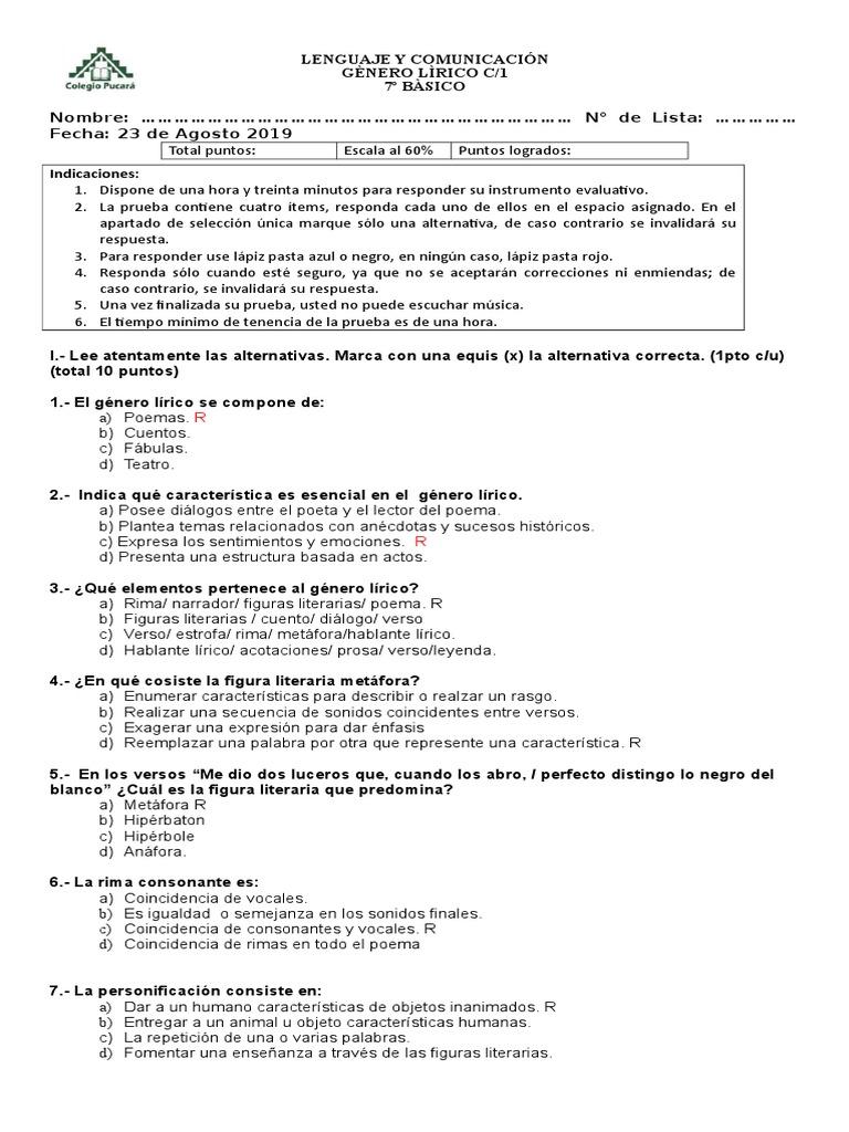 Prueba Genero Lirico 7º Basico 2019