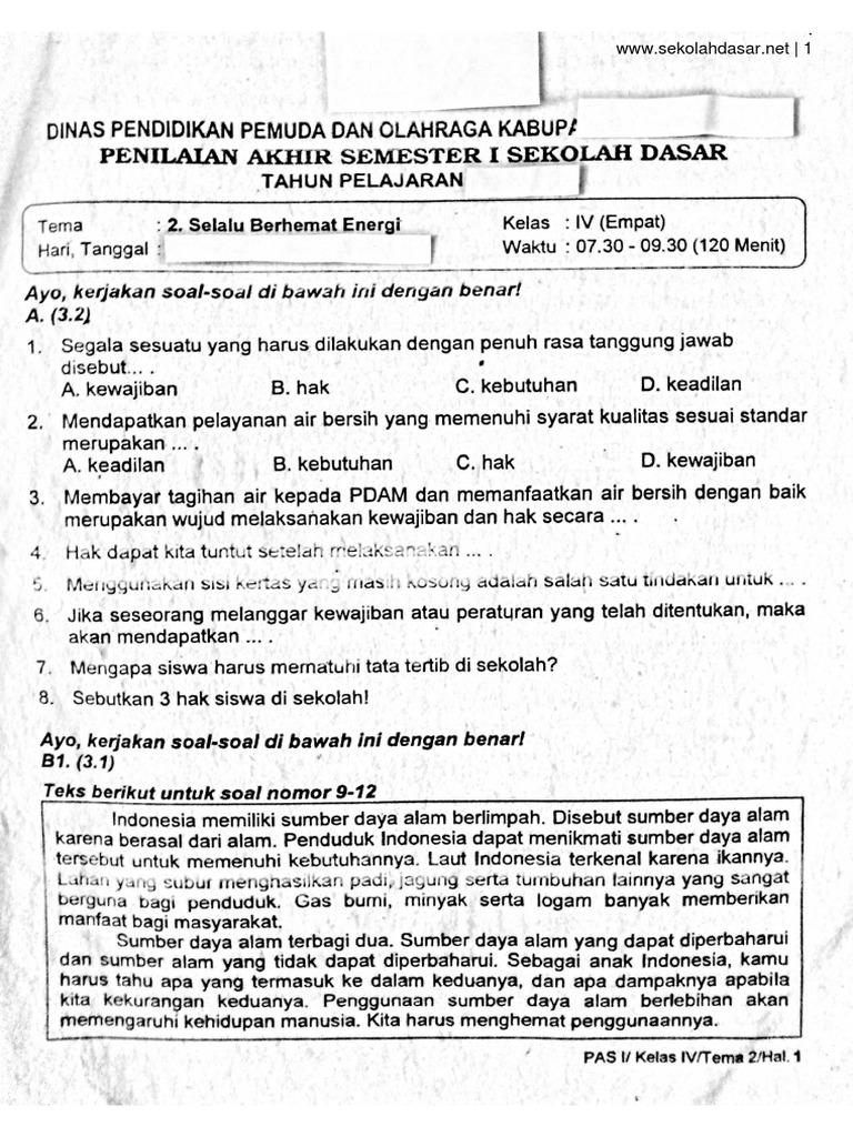 Soal Ulangan Kelas 4 Tema 2 Selalu Berhemat Energi Pdf