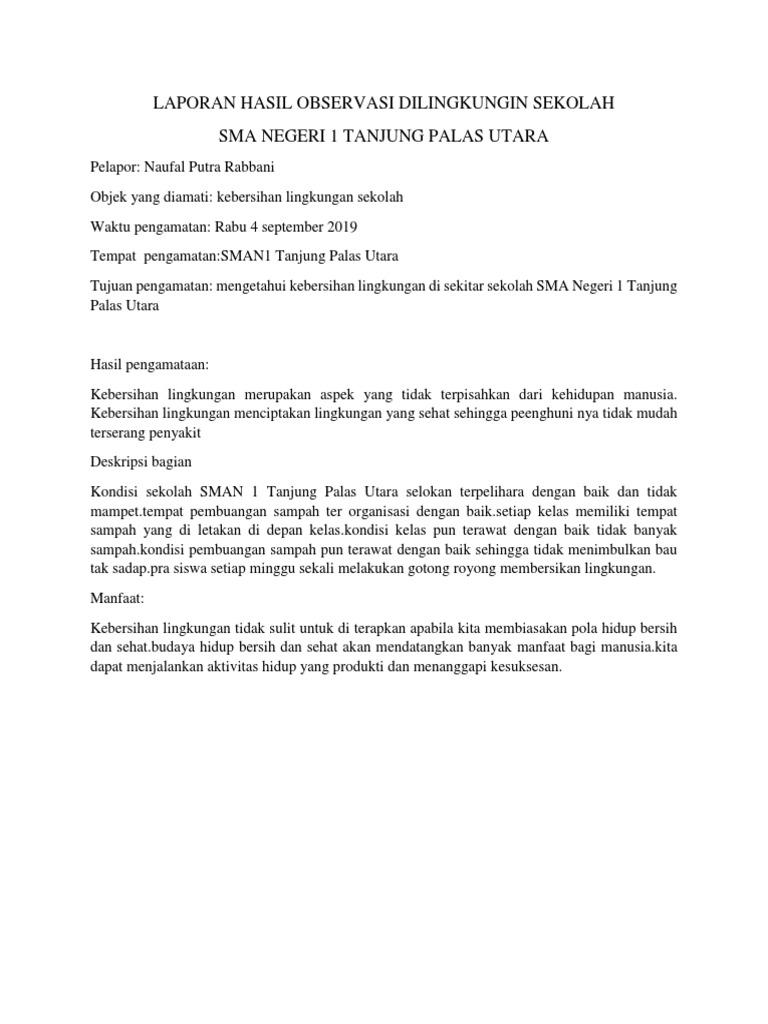 Laporan Hasil Observasi Dilingkungin Sekolah Docx