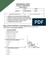 Prueba de Lenguaje 1 Basico (Marzo)