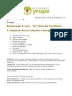 Ejemplo de listas de precios de bioparques sudamericanos