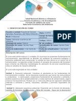 Syllabus Del Curso Valoración Económica Del Ambiente