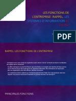 Les Fonctions de l'Entreprise Rappel. Les Systemes d'Information Et Les PGI