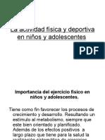 La actividad física y deportiva en niños y