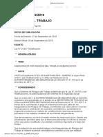 Decreto 669-19 Sistema de Riesgos Del Trabajo