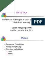 Statistika Pertemuan 4 Pengantar Teori Peluang Dan Distribusi Peluang