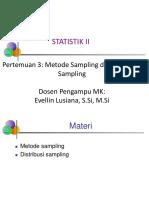 Statistika II Pertemuan 3 Metode Sampling Dan Distribusi Sampling