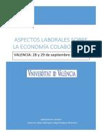 Aspectos Laborales Sobre La Economía Colaborativa - Universidad de Valencia