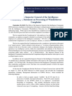 ICIG Statement on Processing of Whistleblower Complaints