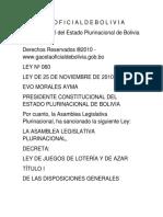 LEY 0060 Juegos Azar