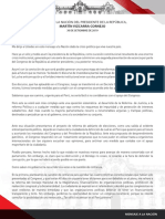Presidente Martín Vizcarra anuncia disolución constitucional del Congreso