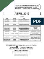 Lista de Precios Jotapartes Abril 2019