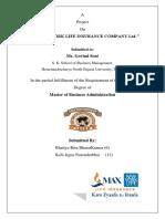 Project on maxlife insurance