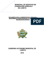 Reglamento Administración y Operación Servicio Mecanización Agricola