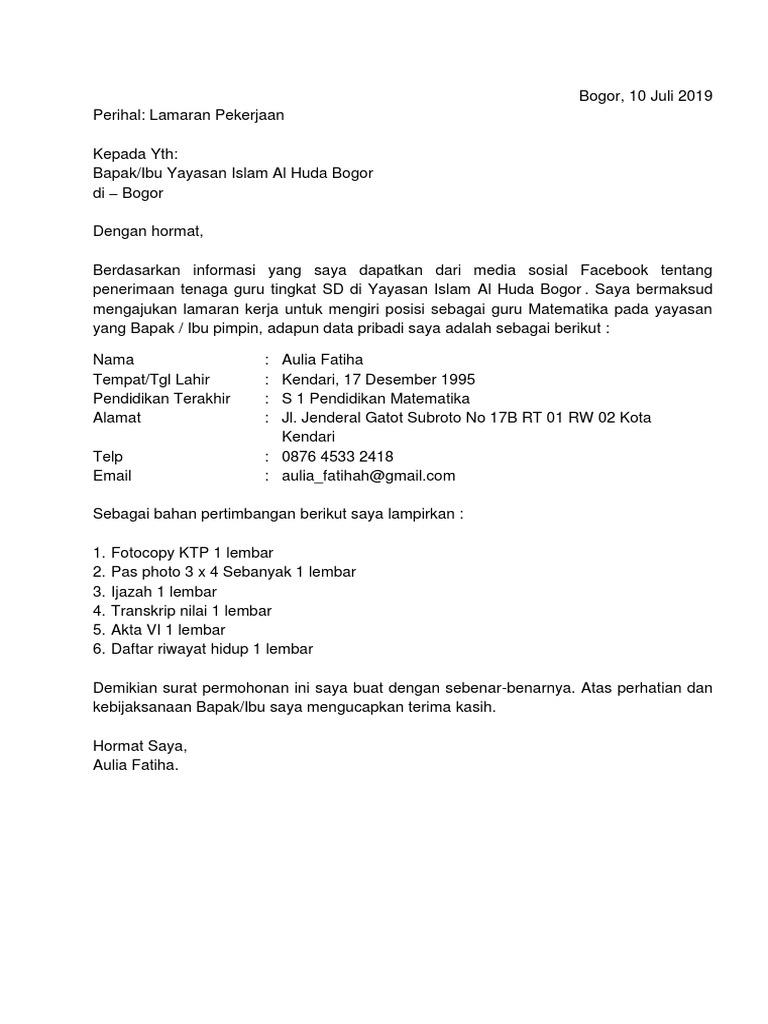 Contoh Surat Lamaran Kerja Di Sekolah Yayasan