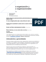 Teoría de La Organización y Estructuras Organizacionales