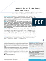 Incidence of Herpes Zoster Among Children
