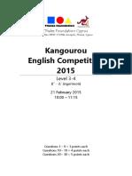 Kangourou English 2015 Level 3 4