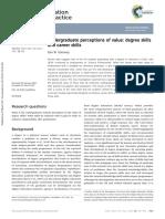 Undergraduate Perceptions of Value Degree Skills and Career Skills