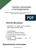 6. Requerimientos Nutricionales de Los Microorganismos
