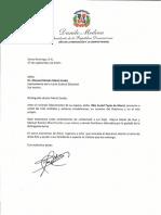 Carta de condolencias del presidente Danilo Medina por fallecimiento de Rita Curiel Tapia de Morel