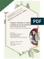 Cartel. Sor Juana Inés de la Cruz.  Enigmas ofrecidos a la soberana asamblea de la Casa del Placer
