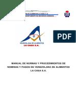 MANUAL DE NORMAS Y PROCEDIMIENTOS DE NOMINAS Y PAGOS DE VENEZOLANA DE ALIMENTOS LA CASA S.A..pdf