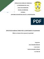Efectos en Agricultures Por Exposicion a Plaguicidas