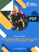 Una Revisión Crítica Al Anteproyecto de Ley de Educación Militar Estudio