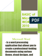 Lesson 2 BASIC of Microsoft WORD 2010