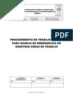 NORSUB PTS N° 007  MANEJO DE EMERGENCIAS EN NUESTRAS ÁREAS DE TRABAJO